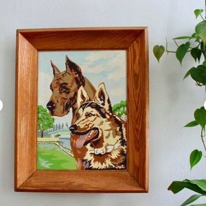 Other - VTG Paint By Number Dogs Wood Frame